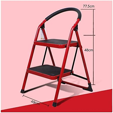 Qi Tai Escalera de carácter Multifuncional Escalera Plegable del hogar pequeña Silla de la Escala Escalera Plegable escaleras de Doble Uso heces Escalera Interior Escalera telescópica (Color : Rojo): Amazon.es: Hogar