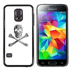 LECELL--Funda protectora / Cubierta / Piel For Samsung Galaxy S5 Mini, SM-G800, NOT S5 REGULAR! -- White Silver Crossbones Skull Black --