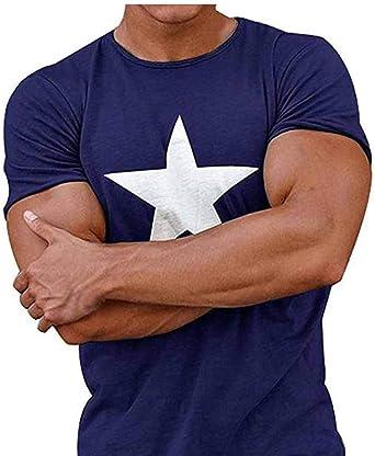 Huateng Camiseta para Hombre Camiseta De Cuello Redondo En Color Liso Camisa Casual con Estampado De Estrellas Moda Deportiva: Amazon.es: Ropa y accesorios