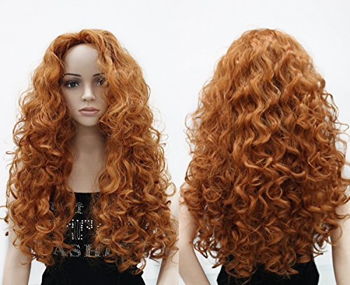 OneDor Long Hair Curly Wavy Full Head Wigs Cosplay Costume Party Hairpiece (130A-Fox Red) (Curly Blonde Costume Wig)