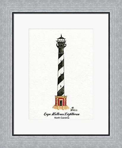 Cape Hatteras Lighthouse Pictures (Cape Hatteras Lighthouse, NC by David Di Tullio Framed Art Print Wall Picture, Flat Silver Frame, 18 x 22 inches)