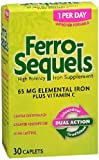 Ferro-Sequels Elemental Iron 65mg + Vitamin C Caplets 30 ct(4 Pack) For Sale