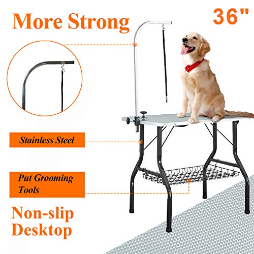 VECELA Pet Dog Grooming Table Heavy Duty 36″ Foldable Height Adjustable with Arm