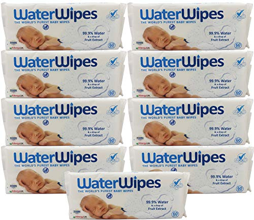 DermaH2O WaterWipes Wipes, 60 Count (Pack of 9)