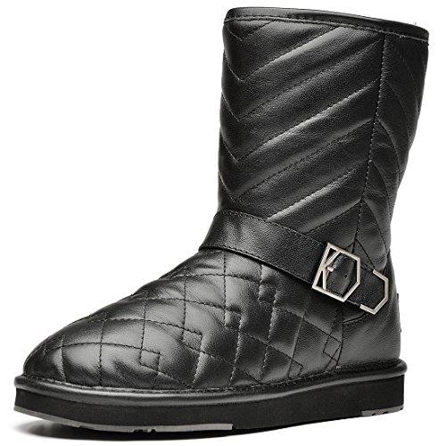 cheap AUMU Women's Checkered Pattern Waterproof Flat Boot Winter Boots for sale