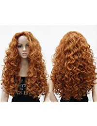 Long Hair Curly Wavy Full Head Halloween Wigs Cosplay Costume Party Hairpiece (130A-Fox Red)