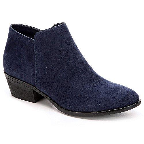 XAPPEAL Womens Stewart Low Heel Ankle Cut Bootie Shoes Navy