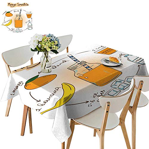 UHOO2018 Tablecloth sketc Mango Smoothie inclu Recipe redients for restaur t Square/Rectangle Table Cover,54 x105inch ()