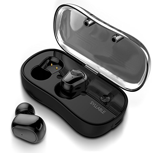 True Wireless Earbuds, Syllable Bluetooth Headphones V5.0 Noise Cancelling Headphones In Ear Stereo Bass Mini Running Headphones with mic for iPhone Samsung iPad and Most Android Phones