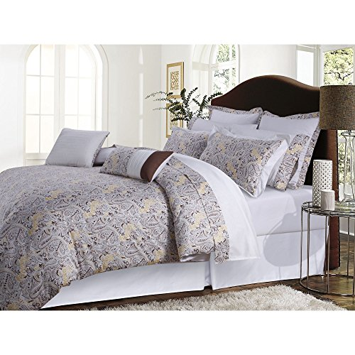 TRIBECA LIVING Fiji Cotton 12-Piece Bed in A Bag Set, King Chocolate, Grey - Fiji Comforter