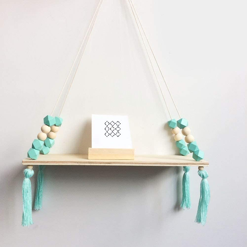 Tracfy Nordic Style Wooden Storage Rack Folating Shelves with Bead Tassels, Hanging Board Ornaments Wall Decor for Bedoom Living Room Home