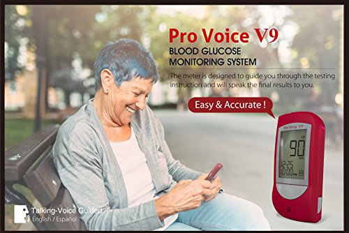 Pro-Voice-V9-Diabetes-Testing-kit-1-Pro-Voice-V9-TALKING-Meter-100-Test-Strips-100-Lancets-1-Painless-Design-Lancing-Device-Owners-Manuals-Carry-Case