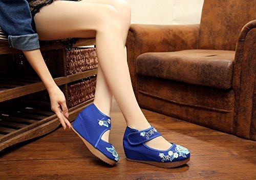 DESY Gestickte Schuhe, Leinen, Sehnensohle, ethnischer Stil, erhöhte weibliche Schuhe, Mode, bequem, lässig Blue