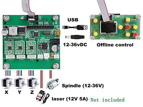 mit ER11 Holz Router Stecher mit Offline Controller 5mm Verl/ängerungsstange und 10pcs 3.175mm Bits MISSICEE Upgrade CNC Router 3018 Pro GRBL Steuerung DIY Mini CNC Maschine