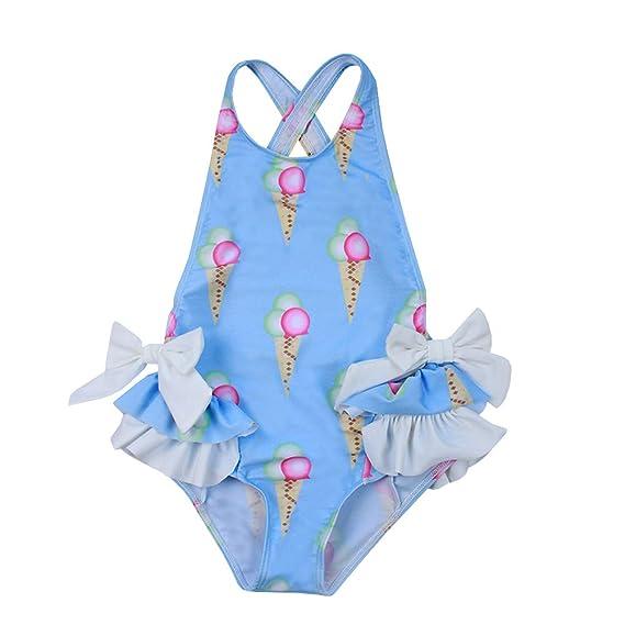 SXSHUN Traje de Baño Niña Azul Bañador Una Pieza Estampado ...