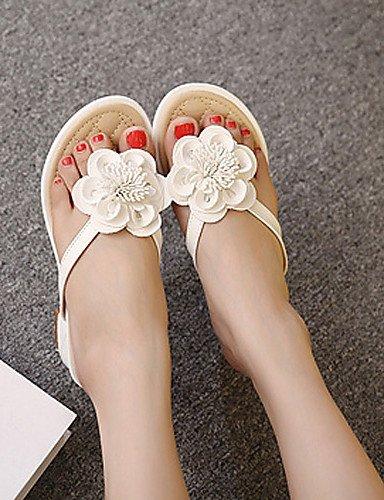 LFNLYX Zapatos de mujer-Tacón Robusto-Tacones / Plataforma / Talón Descubierto-Sandalias-Vestido-Semicuero-Negro / Blanco Black
