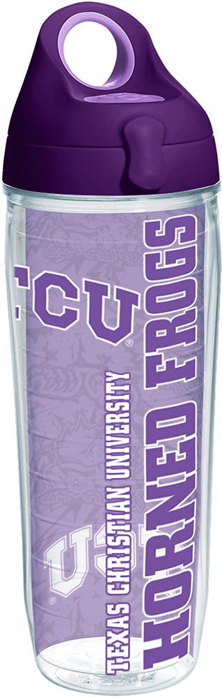 Tervis 1220150 TCU Horned Frogs College Pride Tumbler with Wrap and Purple Lid 24oz Water Bottle, Clear