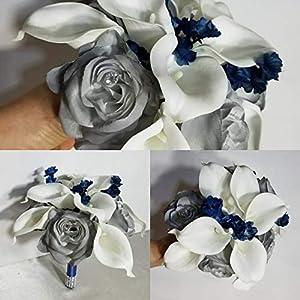 Grey Navy Blue Rose Calla Lily Bridal Wedding Bouquet & Boutonniere 101