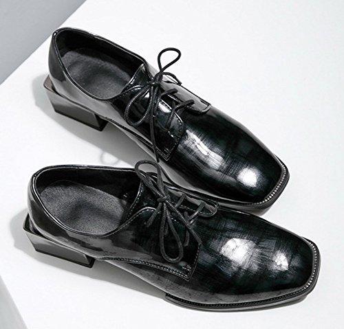 IDIFU Womens Dressy Square Toe Mid Heels Chunky Lace Up Oxfords Black e86ef2AWlc