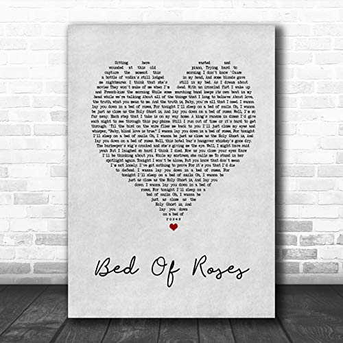 Bed Music Lyrics - Bed of Roses Grey Heart Song Lyric Art Music Quote Gift Poster Print