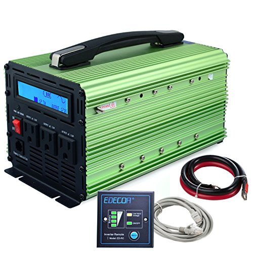 EDECOA 1000W Power Inverter Pure Sine Wave DC 12V to 110V AC with LCD Display and Remote by EDECOA