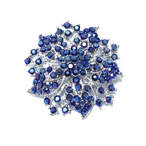 Ezing Fashion Jewelry Beautiful Silver Plated Rhinestone Crystal Brooch Pin for Woman (Dark Blue)