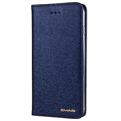 Funda cartera de iPhone 7/7Plus/6/6S/6 Plus/6s Plus/8/8Plus/iPhone X/Samsung Galaxy S7/S7 Edge/Note 8/S8 S9 Plus con función de llevar tarjeta de credito y dinero Azul Zafiro.
