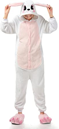 MizHome Pijama de Conejo Blanco para Cosplay, Disfraz de Anime, Ropa de casa, Ropa de salón S-XL