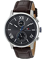 Tommy Hilfiger Mens ALDEN Quartz Stainless Steel and Leather Casual Watch, Color:Brown (Model: 1791309)