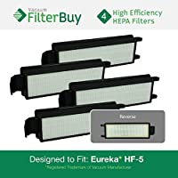 4 - Eureka HF-5 (HF5) HEPA Replacement Filters, Part #s 61830, 61830A, 61840. Designed by FilterBuy to fit Eureka Commercial Upright Vacuums & Eureka 4D Boss Bagless Upright Vacuum
