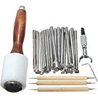 xlpace Leathercraft Tools Wooden Steel Leather Carved Hammer Printing Tool Sewing Handmade Kit DIY Accessories 25Pcs