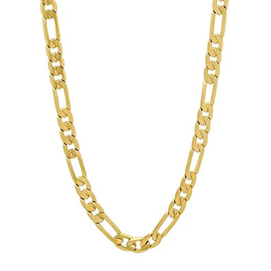 The Bling Factory 4mm 14k Yellow Gold Plated Cuban Curb Link Chain with Lobster Clasp + Microfiber Jewelry Polishing Cloth EL48ZE