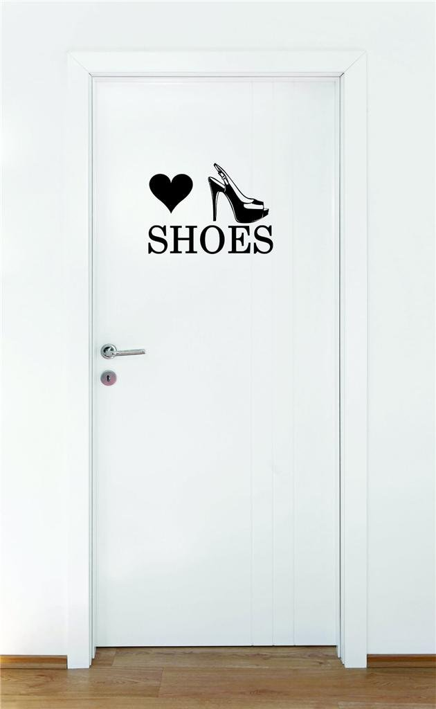 Black 16 x 16 Design with Vinyl Moti 1469 2 Heart Shoes Teen Girls Fashion Wardrobe Bedroom Closet Quote Peel /& Stick Wall Sticker Decal