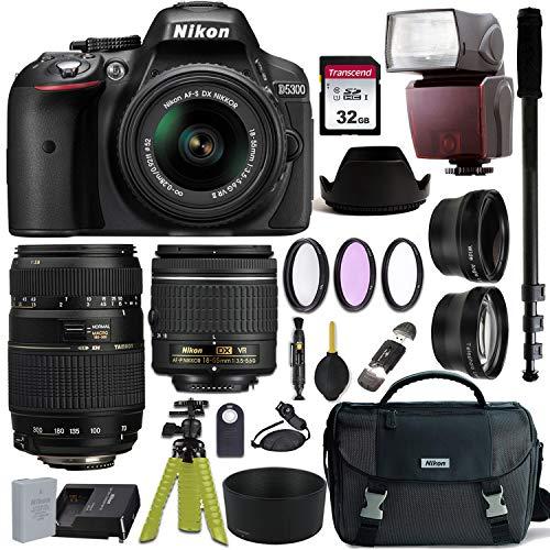 Nikon D5300 DSLR Camera with AF-P DX NIKKOR 18-55mm f/3.5-5.6G VR and Tamron AF 70-300mm f/4-5.6 Di LD Macro Lens for Nikon DSLR + Nikon Gadget Bag & Accessory Bundle