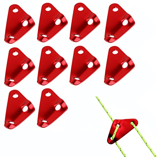 AVESON Pack of 10 Aluminum Triangle Guyline Cord Adjuster Tent Wind Rope Bucket Fastener Rope Tensioners for Camping Hiking Backpacking Picnic Shelter and Shade Canopy Outdoor Activity, Small (0.13 Pack Ounce)