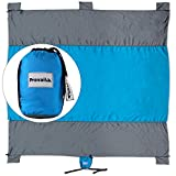 Sand Free Beach & Camp Blanket (9'X7') with 6 Sand Anchors and attached carry pouch