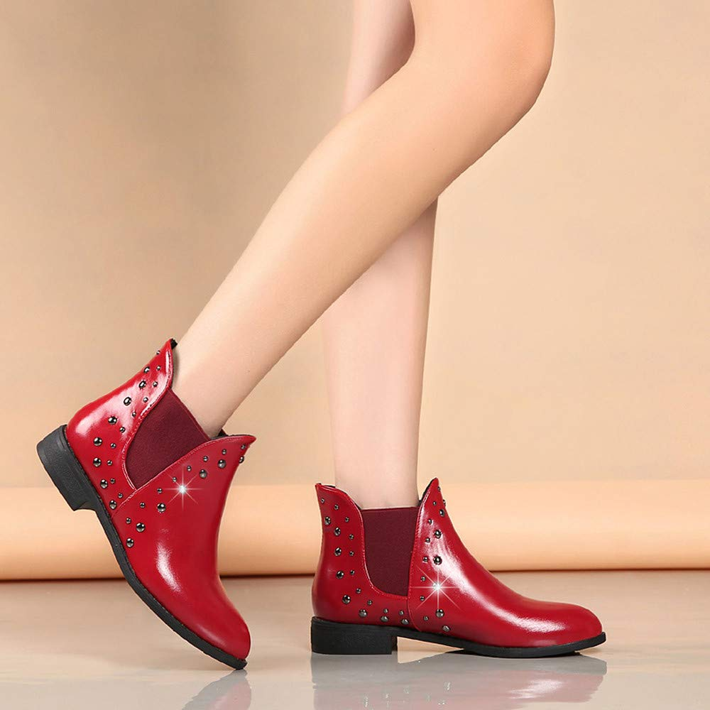Boots For Women, Clearance Sale !! Farjing Casual Rivets Shoes Keep Warm Boot Leather Flat Ankle Boots Martin Boots(US:7,Red) by Farjing (Image #2)