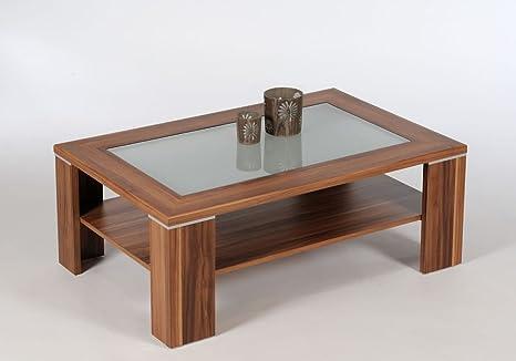 Tavolino Salotto In Noce.Proline Santos Tavolino Da Caffe In Noce Con Vetro Satinato Amazon