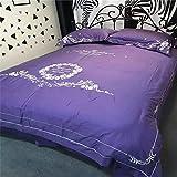Svetanya Purple European Plaid Duvet Cover Set Flat Sheet Pillow Cases 800TC 100% Soft Egyptian Cotton Fabric Embroidery Bedding Sets King Size