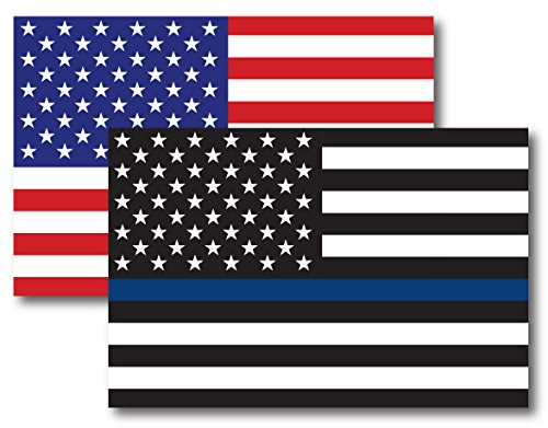 Thin Blue Line American Flag Magnet Decal and American Flag Magnet 4x6 - Heavy Duty for Car Truck SUV - 2 Pack - in Support of Police and Law Enforcement Officers (Best Police Cars Usa)