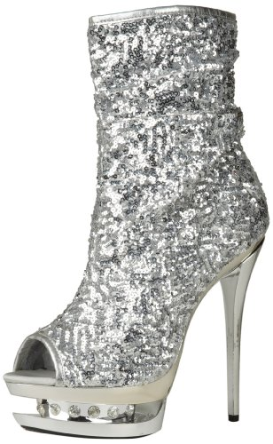 The Highest Heel Women's Diamond-31 Boot,Silver Sequins,8 M