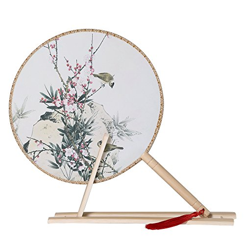 BABEYOND Floral Round Hand Fans for Women Vintage Chinese Bamboo Handheld Fan with Fan Stand Chinese Tang Dynasty Style (Style 3) by BABEYOND