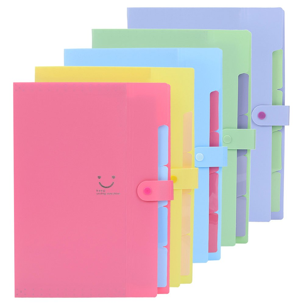 VANVENE 5 Pack Expanding File Folders with 5 Pockets Plastic Organizer A4 Letter Size Multi-Color for School and Office Supplies