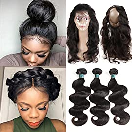 Ashimary Brazilian Body Wave with Lace Frontal Closure 8A Brazilian Virgin Hair with Frontal Body Wave 3 Bundles with Closure (12 14 16+10″ Frontal, Natural Color)