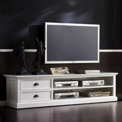 CAGÜ – Tiempo Los Elegante Mesa de TV Mesa de Televisión [Josephine] Blanco Sucio 180 x 45 cm de Caoba en Atemporal Estilo rústico: Amazon.es: Hogar