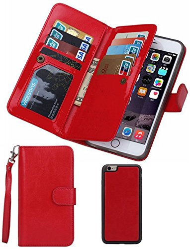 Valentoria Black Sales Friday Cyber Deals-iPhone 8Plus Wallet Case,iPhone 7Plus Leather Case, Premium Vintage Leather Wallet Case Magnetic Detachable Slim Back Cover Card Holder Slot Wrist Strap(Red)