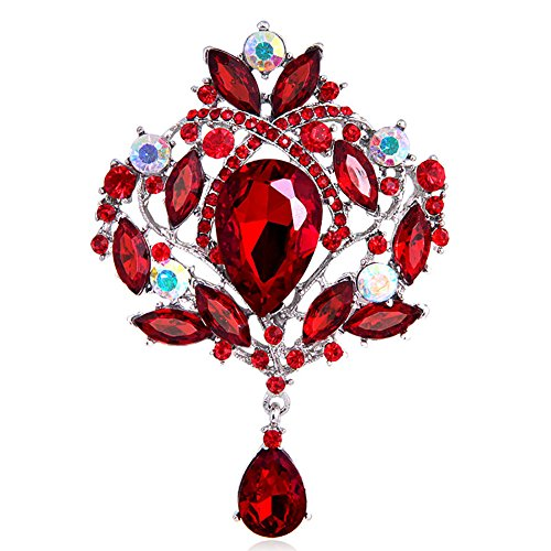dds5391 Women's Gorgeous Luxury Flower Teardrop Rhinestone Pendant Cocktail Brooch Pin - Red-silver Plated