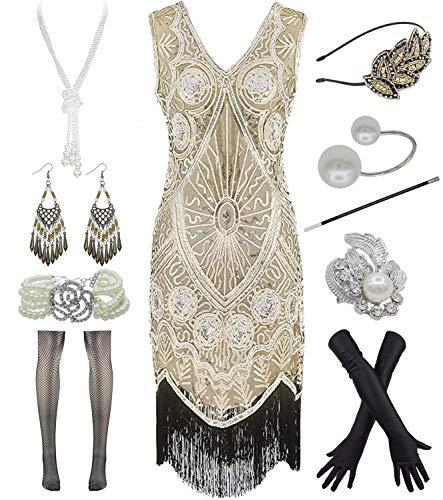 Women's Flapper Dresses 1920s Gatsby Fringed Cocktail