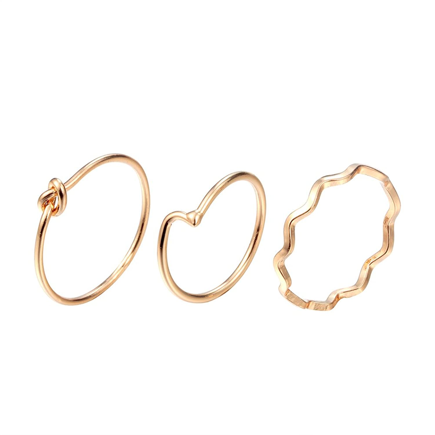 chengxun 3 Pcs/set Fashion Love Knot Gold Rings Thin Chain Above Knuckle Band Midi Finger Jewelry