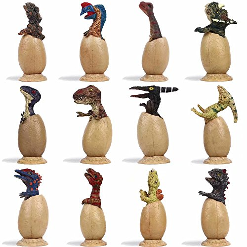 - LTCtoy 12 pcs Dino Figures | Baby Dinosaur Decoration with Tray | Realistic Dinosaur for Party, Display and Collection | Gift Box Including T-rex, Triceratops, Velociraptor, etc